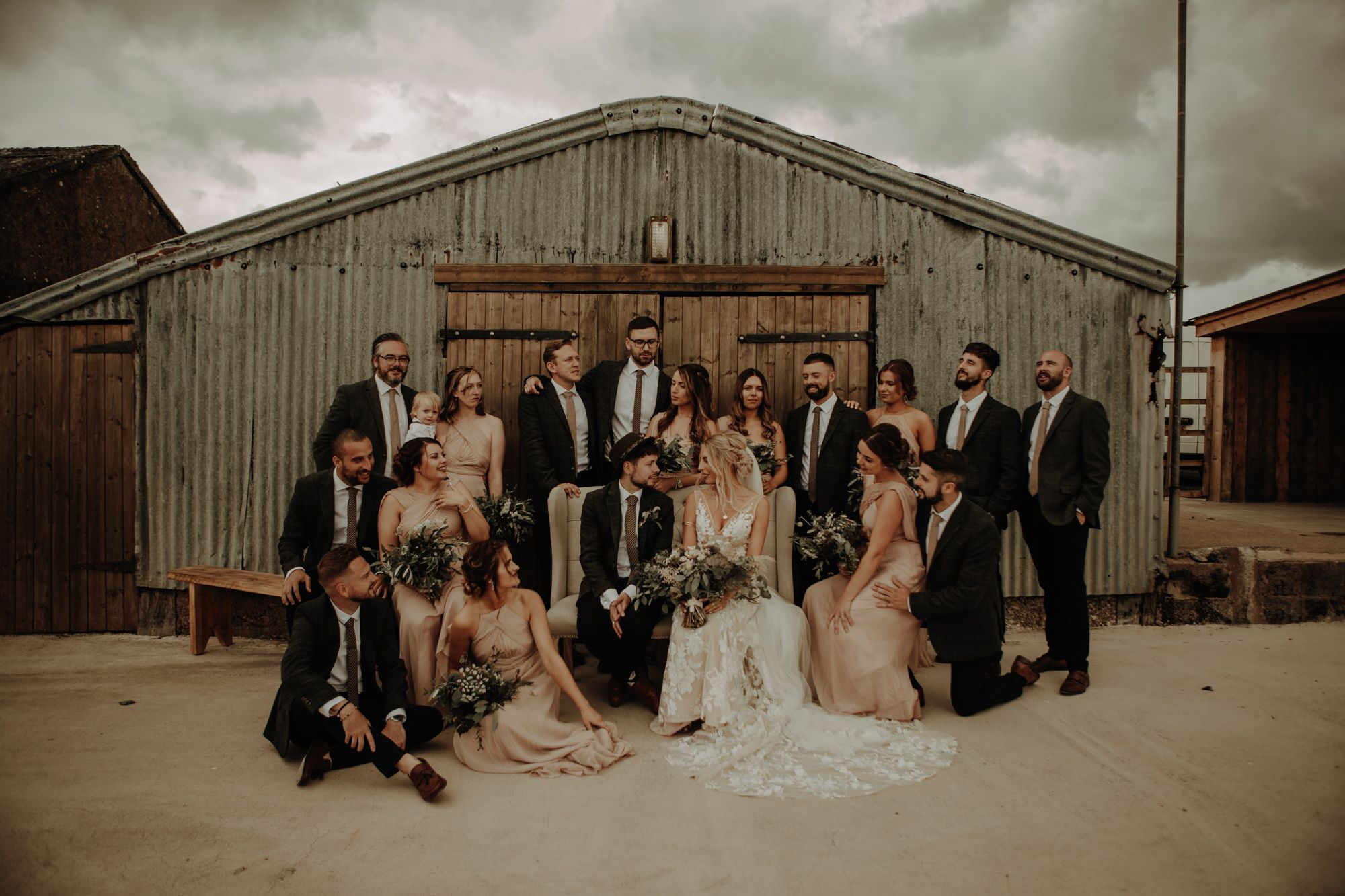 Bridal party at Eden Barn lake district wedding