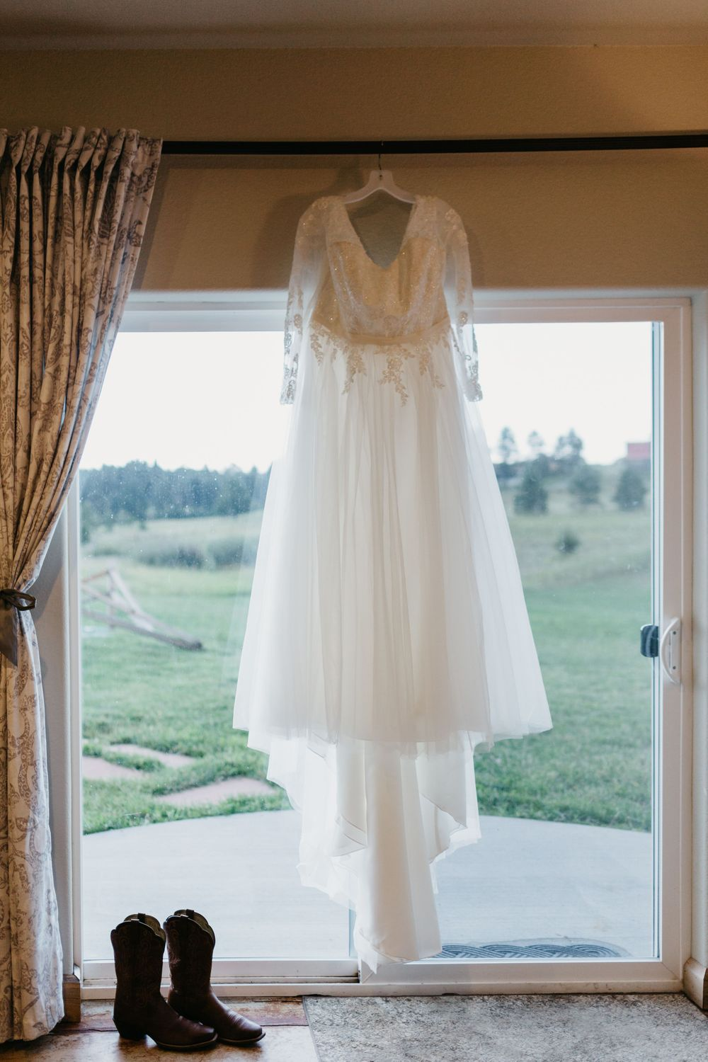 Wedding Dress in Window Photography Ideas