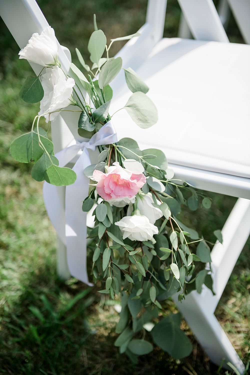 flower decor at backyard micro wedding