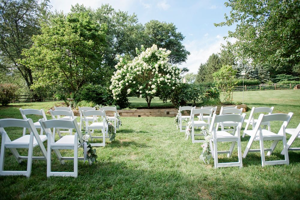 site decor at backyard micro wedding