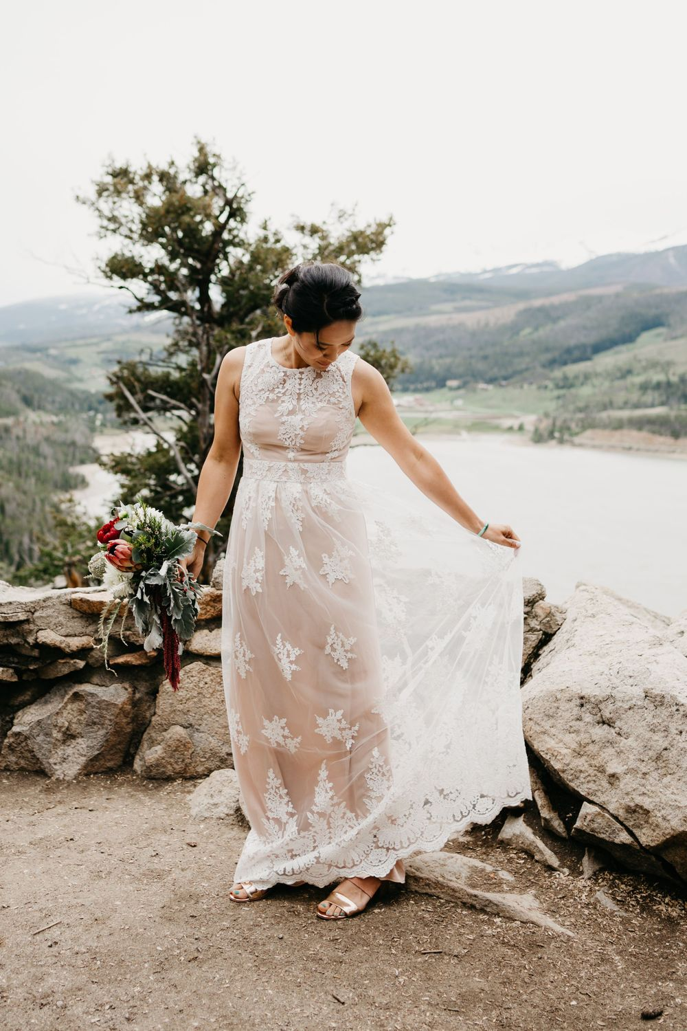 gorgeous lace dress boho wedding mountains colorado