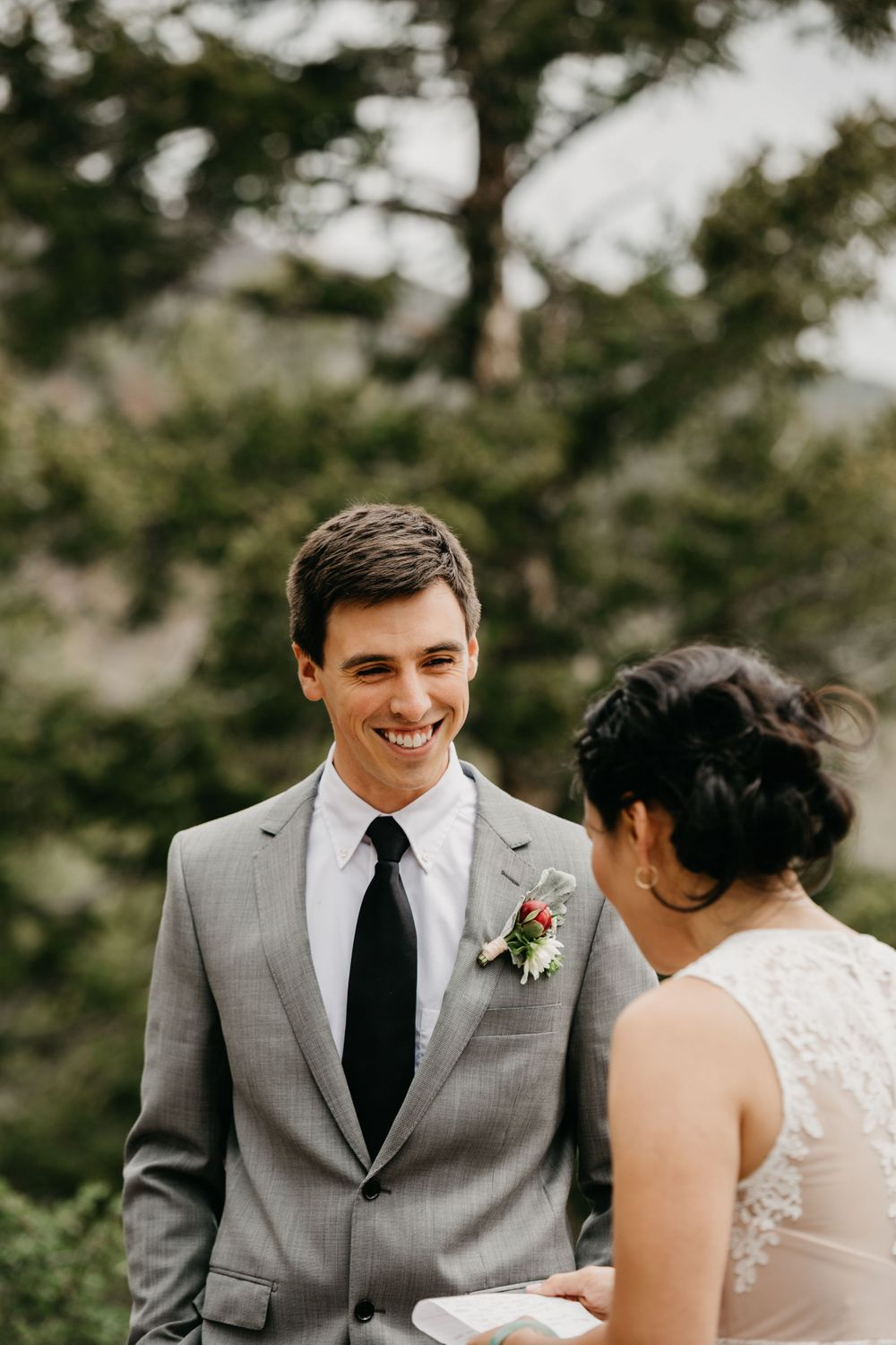 Portrait of groom boho wedding mountain elopement