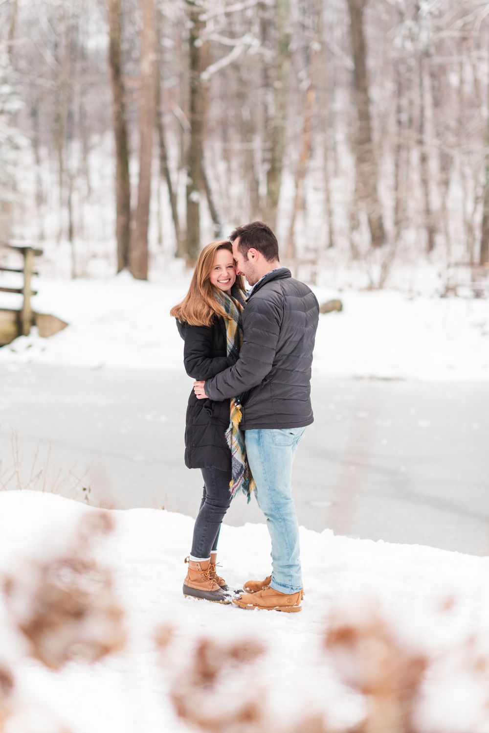 Winter and snow couple engagement in Harrisonburg VirginiaWinter and snow couple engagement in Harrisonburg Virginia