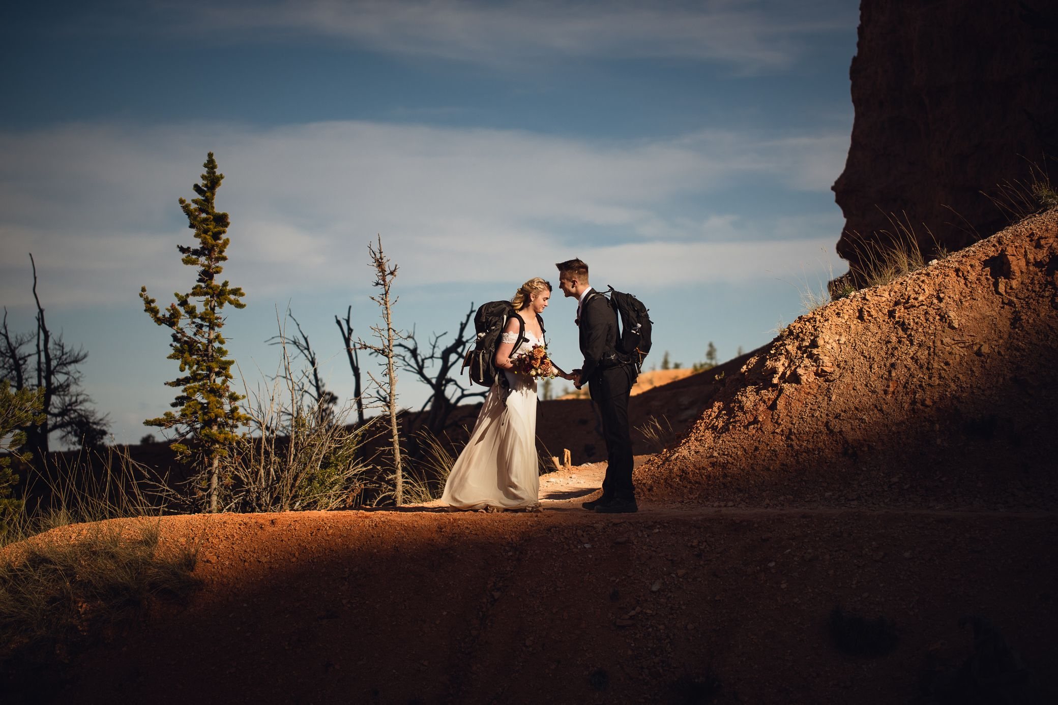 Backpacking bride and groom at Bryce Canyon National Park.