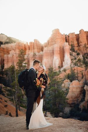 Newly weds at Bryce Canyon at dusk.