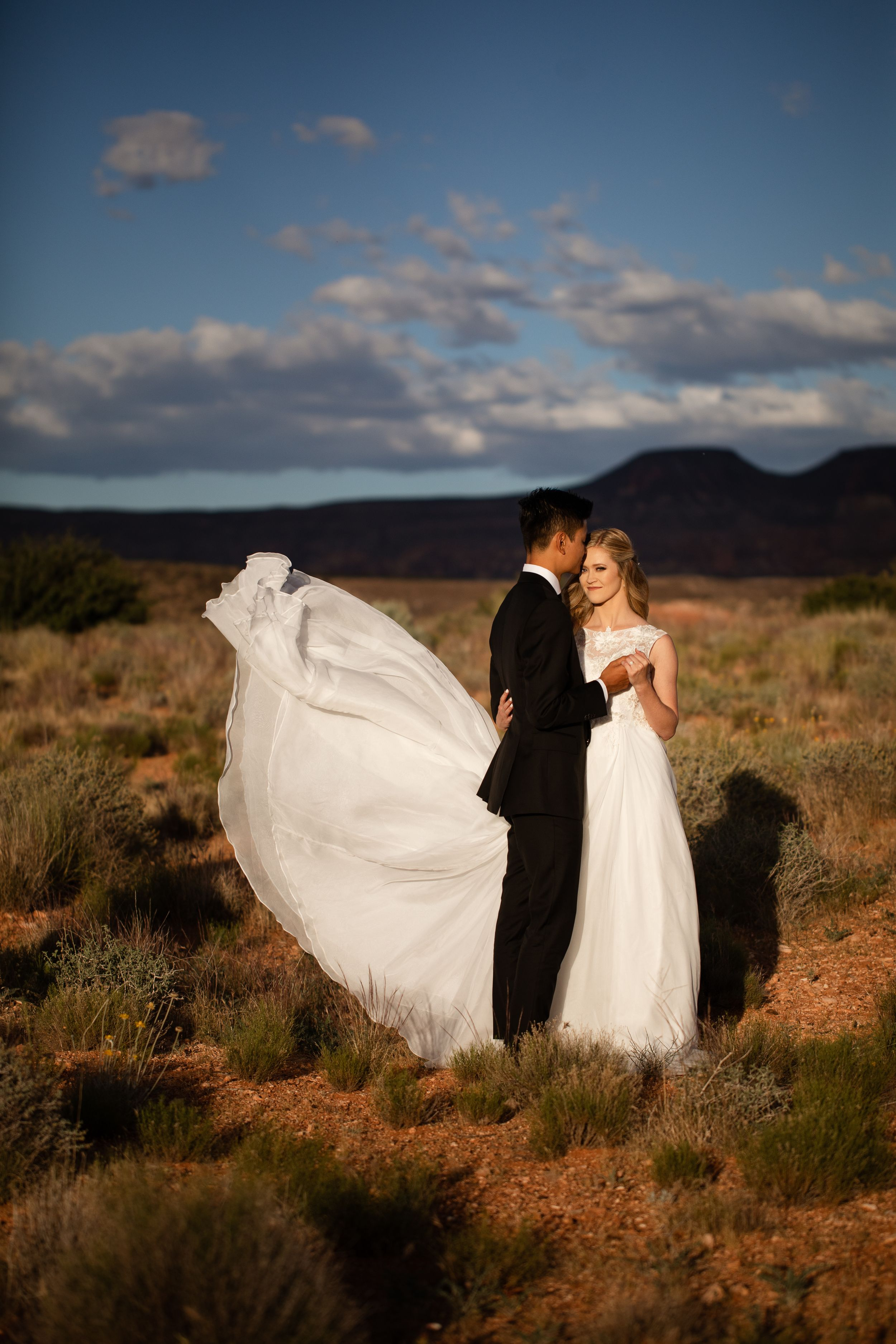 Bride's dress flying in the desert wind.
