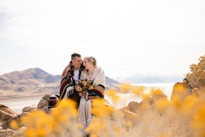 Boho outdoor wedding at state park with yellow flowers.