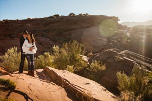 engagement photos in a red rock desert.