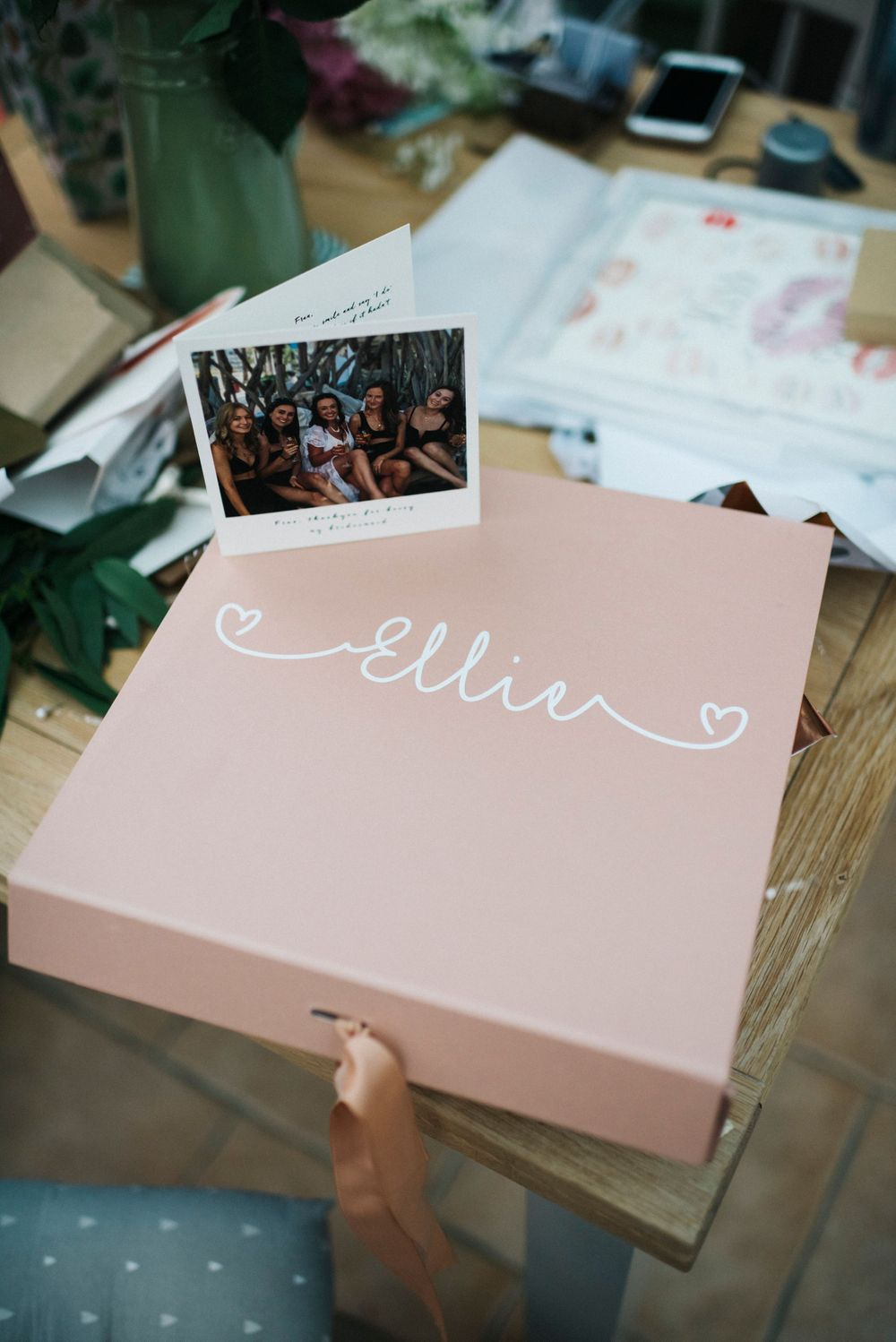 bride box, pink bride box, gift from bridesmaids, gift for bride, pink gift box, hen do photo