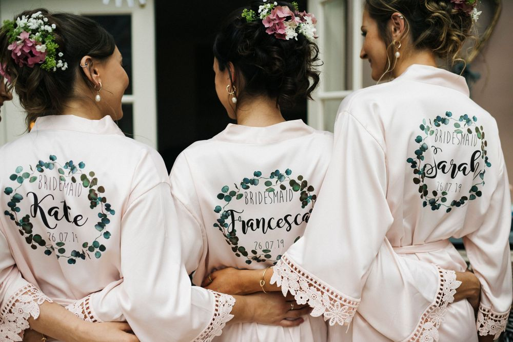 back of robe, personalised wedding robes, bridesmaids in personalised robes, bridesmaids hair, wedding hair inspo