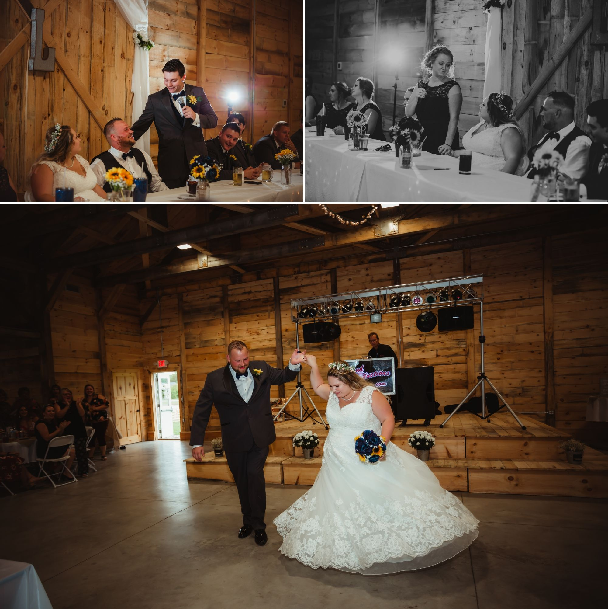 Collage of the bride and groom's reception entrance and toasts.