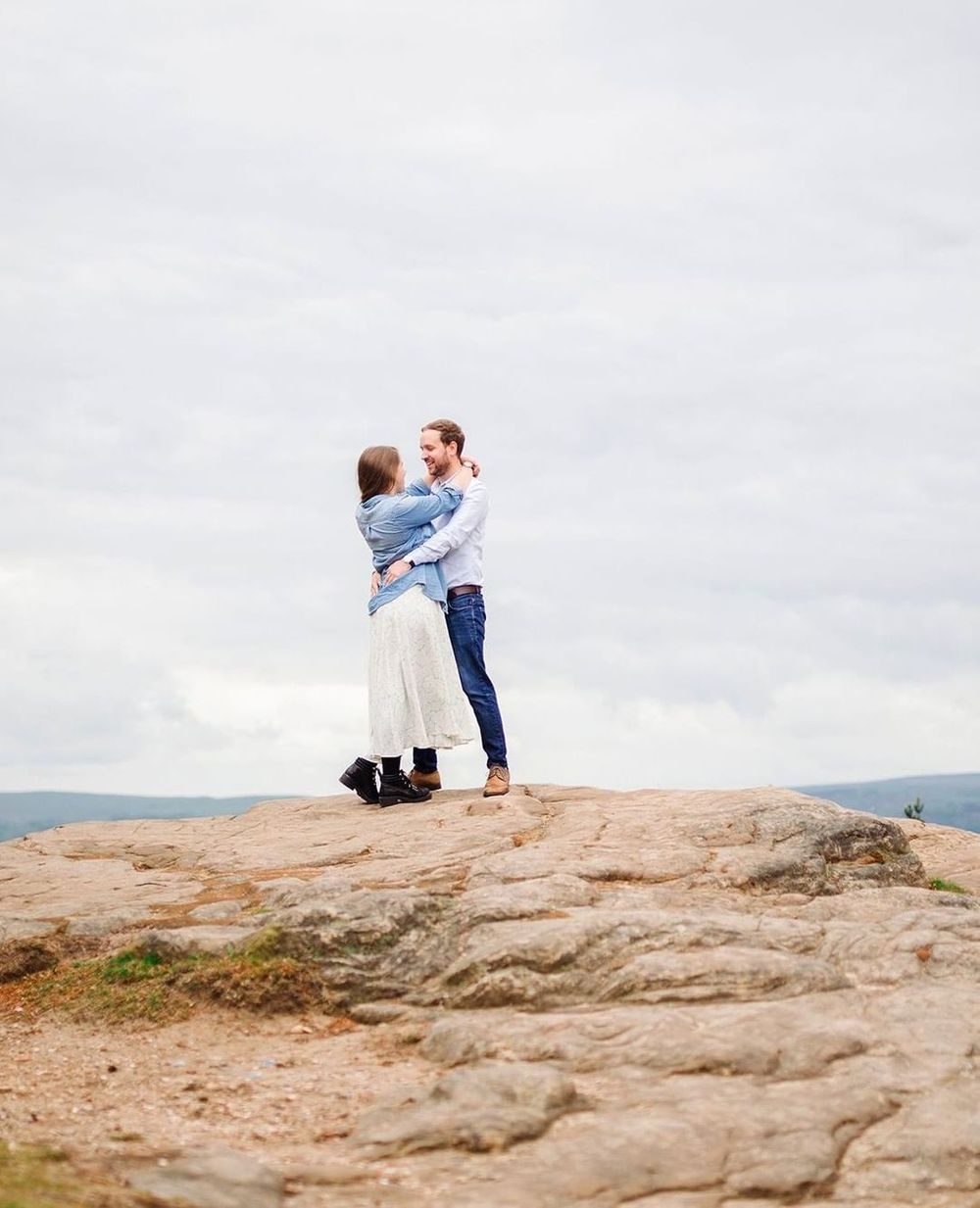 Outdoor forest engagement shoot for Pimhill barn wedding photography couple on a mountain top