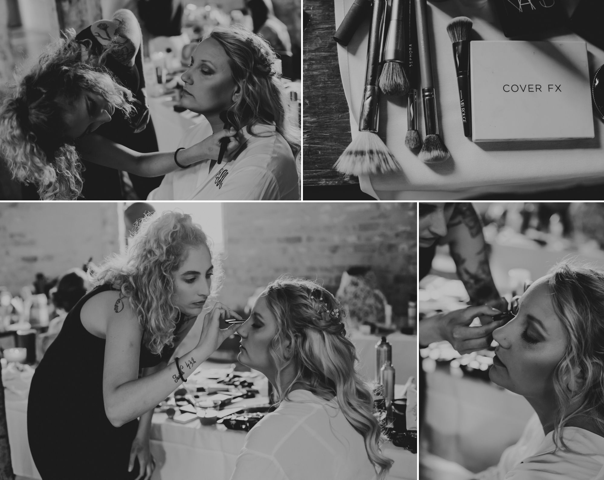 Black and white collage of the bride getting her make up done.