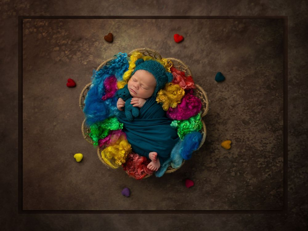 Award-winning austin baby photographer Austin Newborn photography colorful newborn art Rainbow Baby newborn portrait