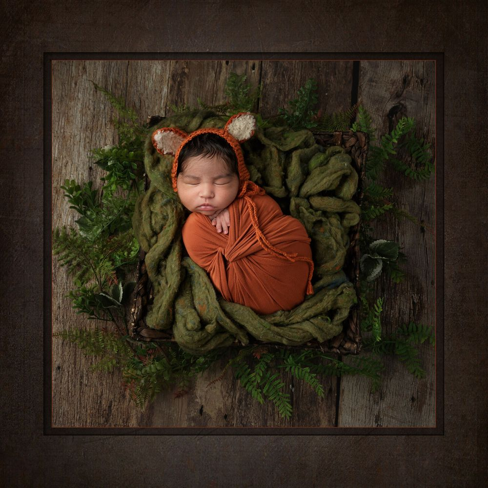 For Fox Sake Don't Wake the Baby.  Austin Newborn Photographer Valerie steinkoenig newborn in fox swaddle bonnet