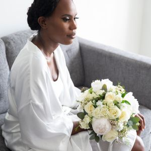 Black bride getting ready wedding photography