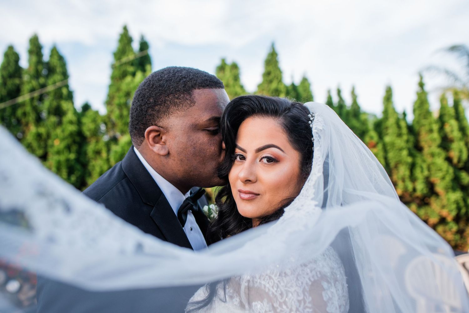 bride's veil and groom portrait