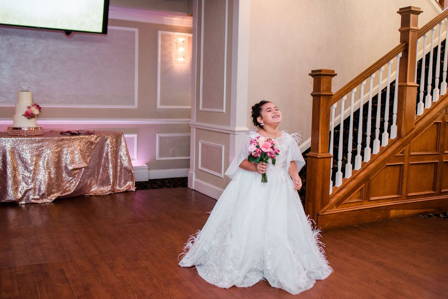 junior bride walking in reception