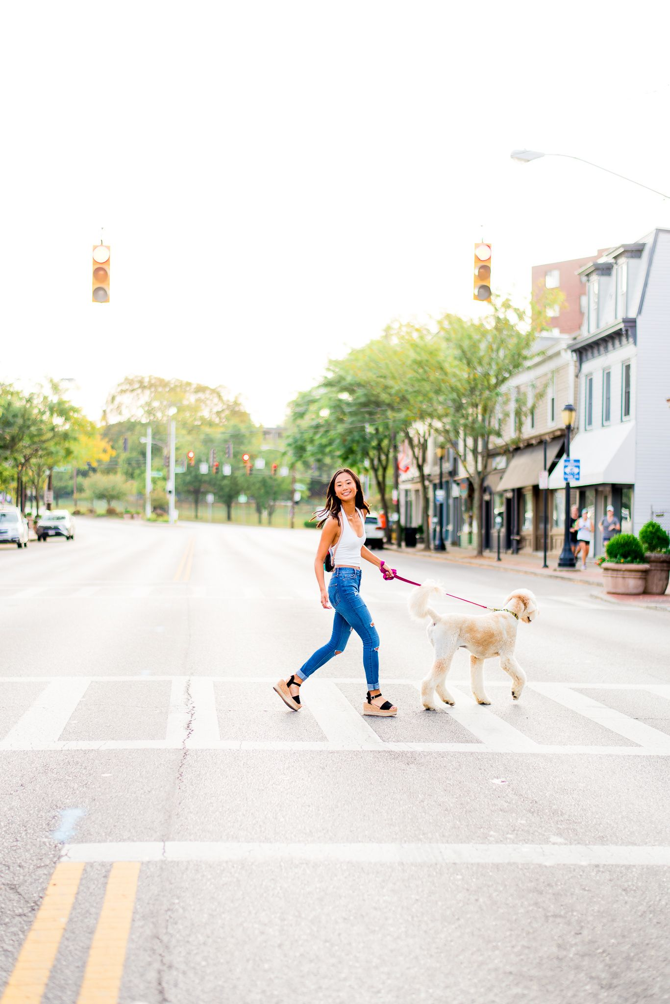 high school senior walking her dog in Obrianville Cincinnati