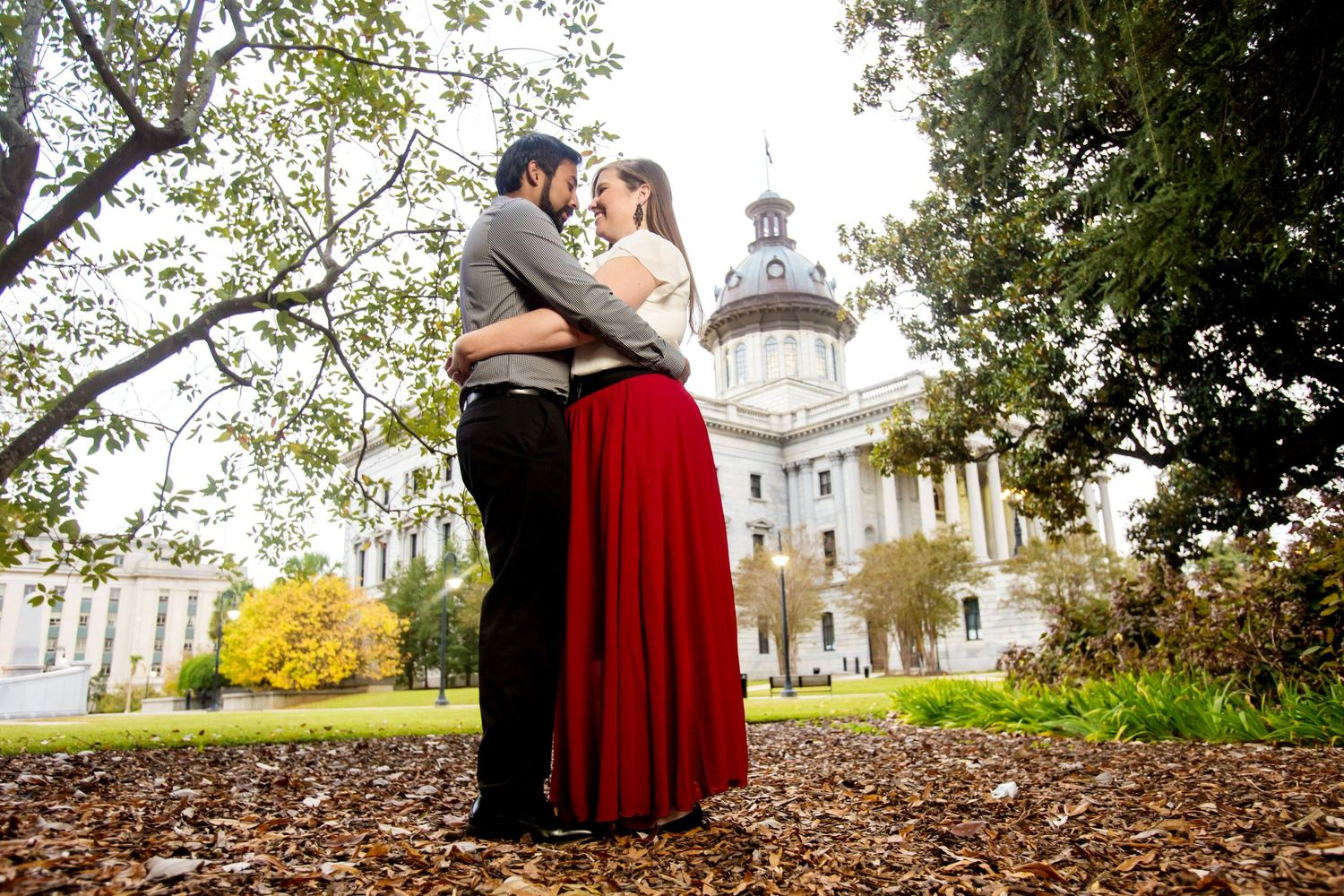 State House  engagement portrait by Columbia, SC, Wedding Photographer Jeff Blake
