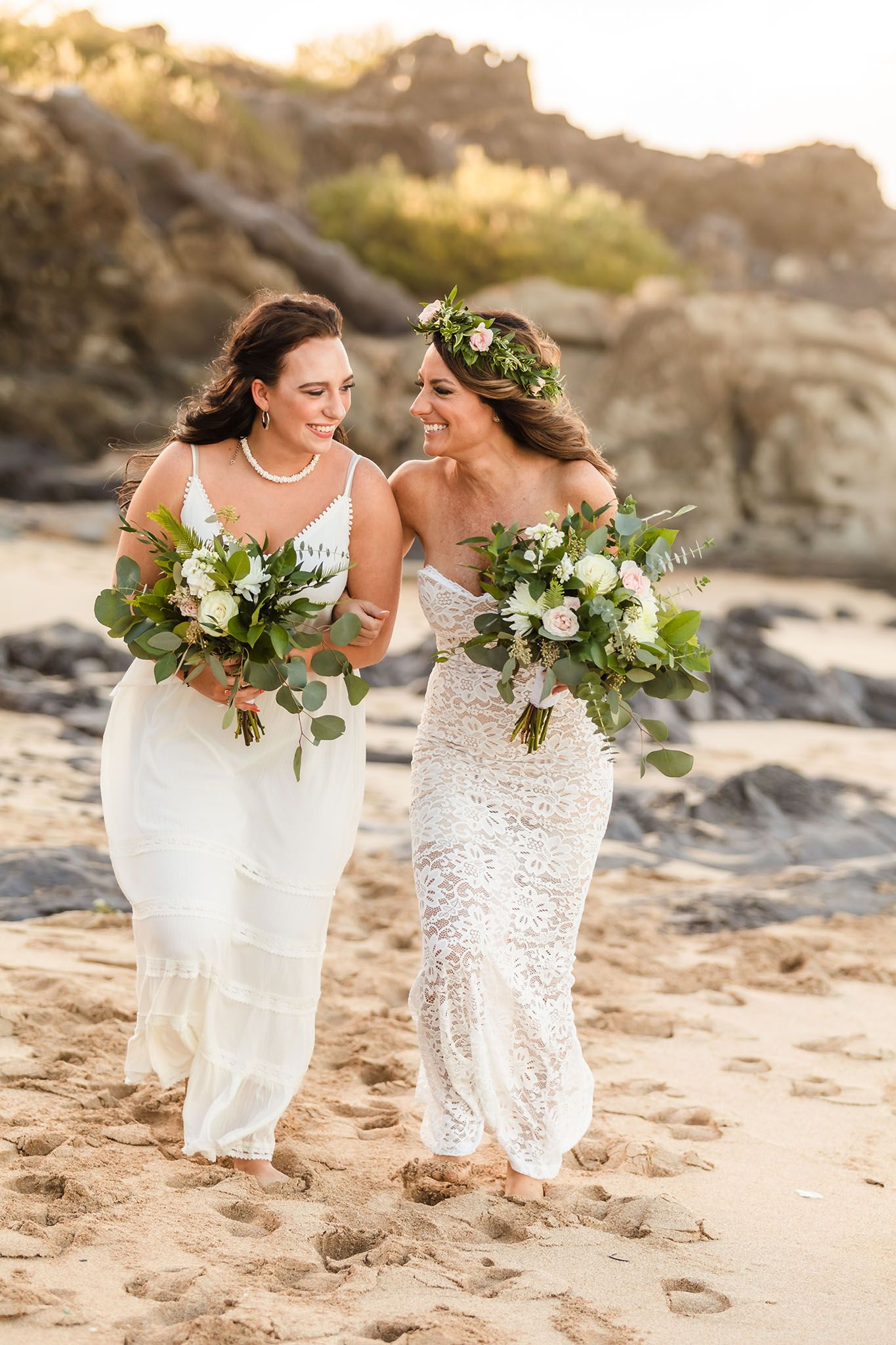 mother daughter maui beach wedding