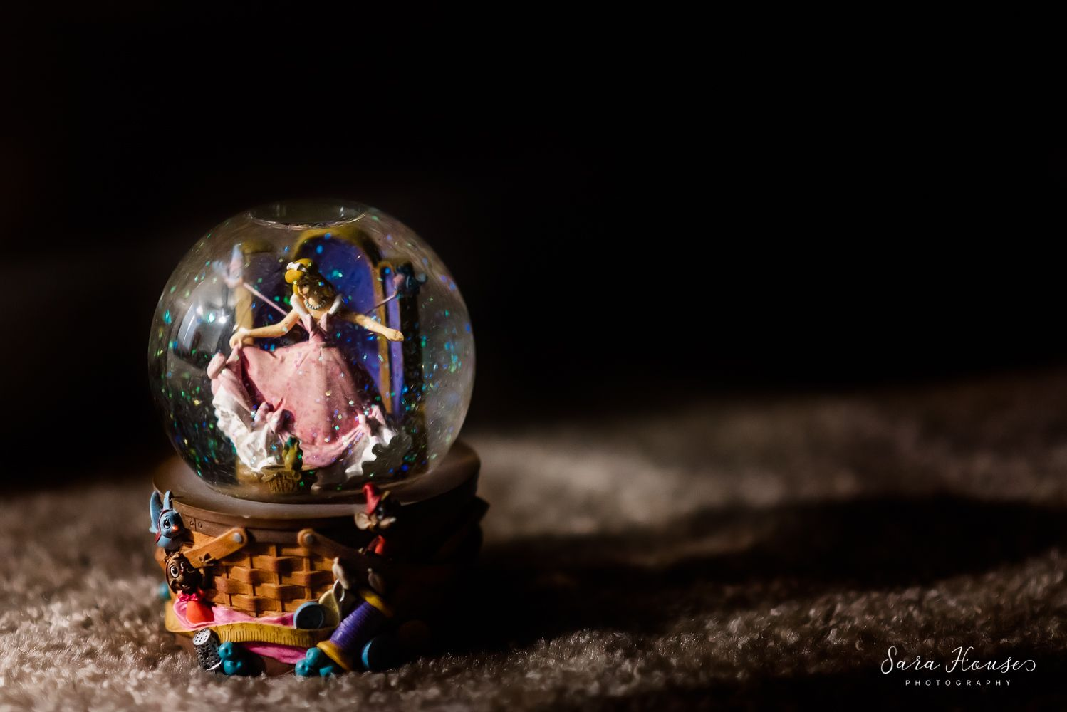 Cinderella water globe photo with light and shadows
