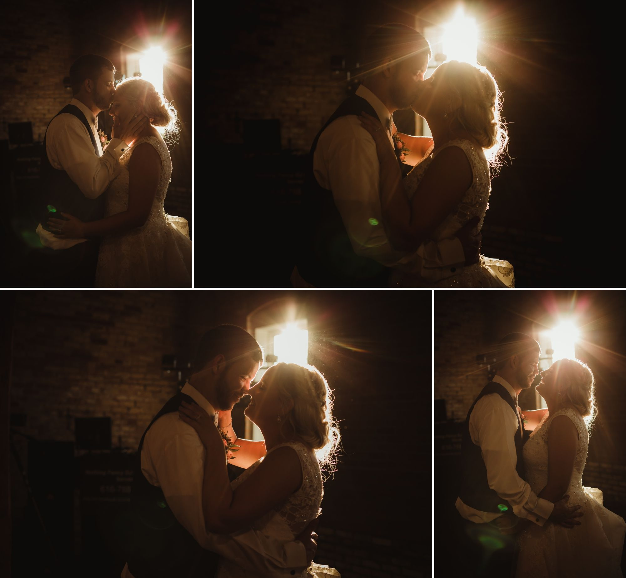 Bride and groom smiling and kissing on the dance floor with golden sunset light shining through a window.