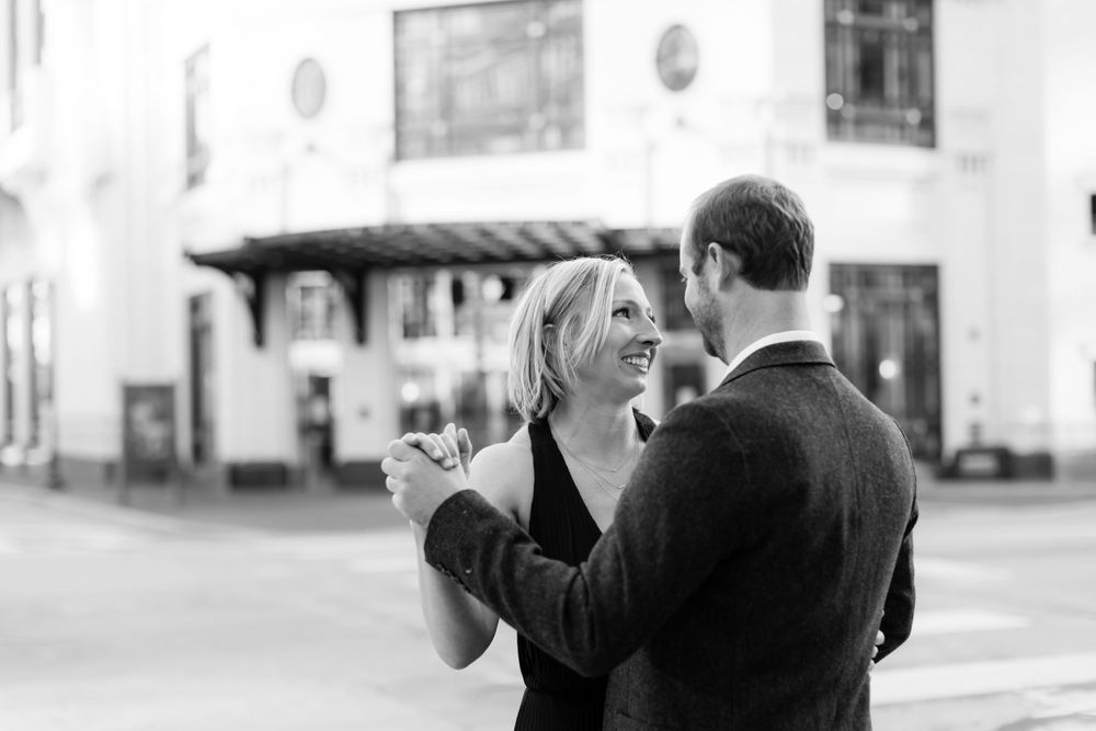 Engagement photos at Bass Hall on Sundance Square Fort Worth