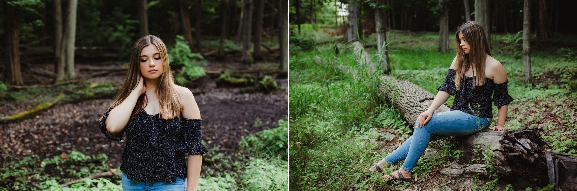 Two photos of a high school senior girl in the woods. She is wearing a black shirt and jeans. She is sitting on a log.