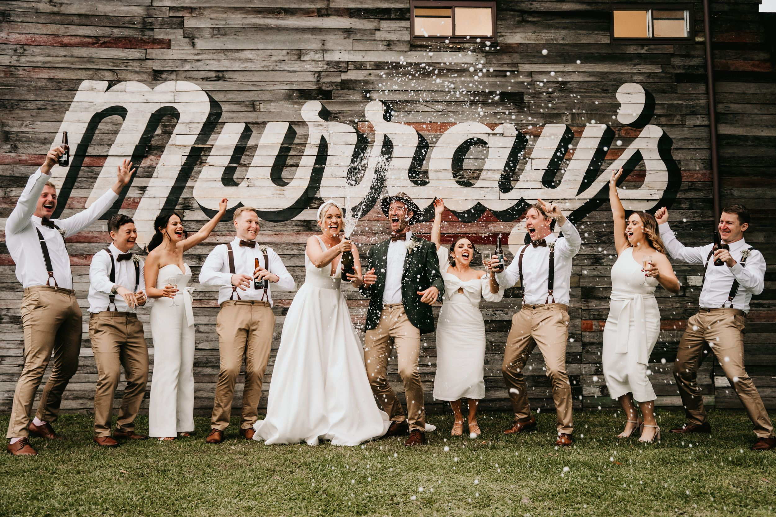 port stephens newcastle wedding photography popping champagne murrays brewery