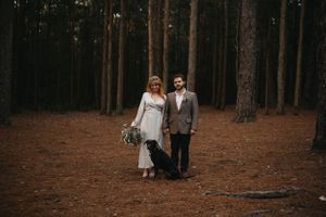 folk moody wedding elopement photography couple with dog watagans national park pine forest hunter valley nsw