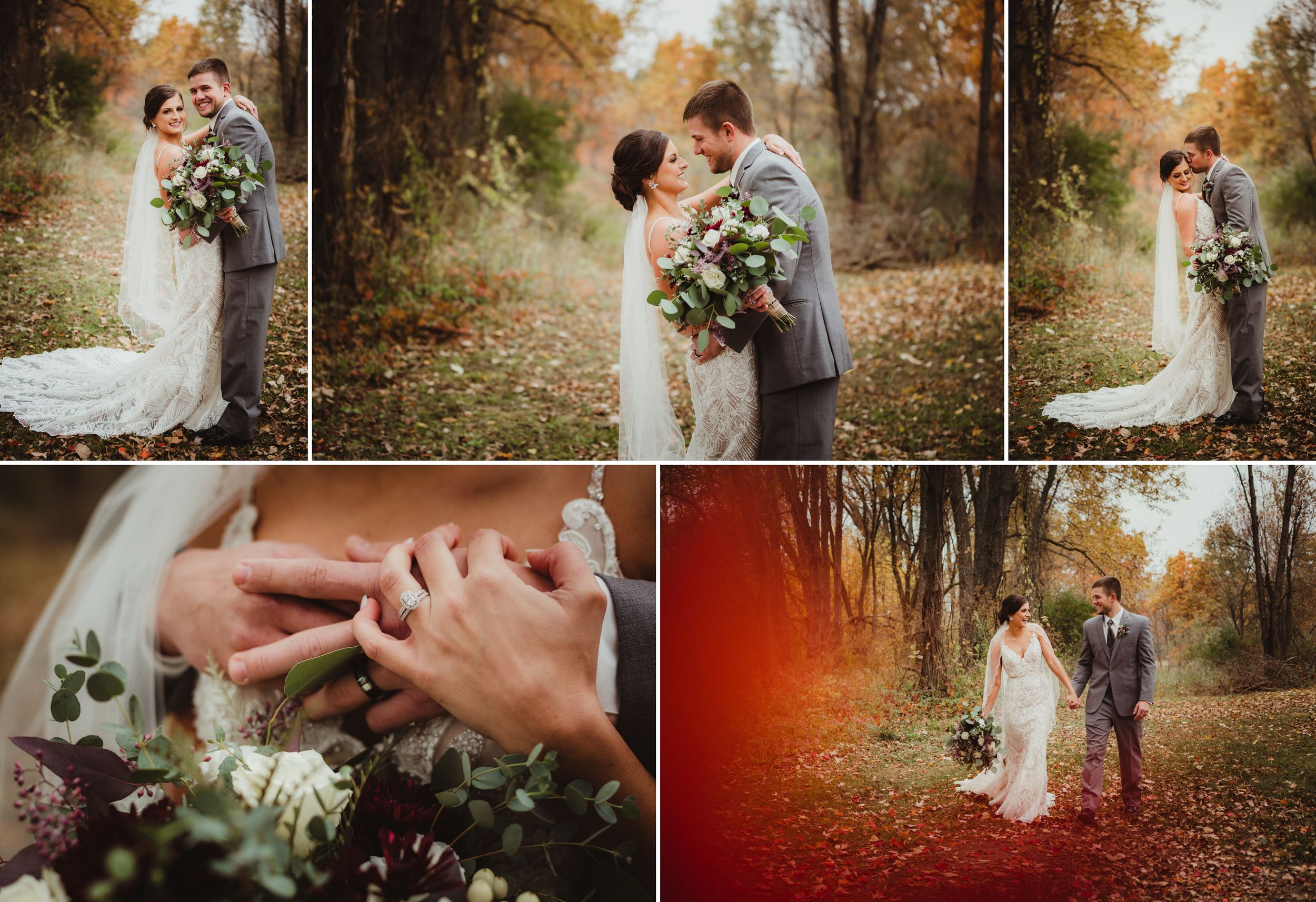 Bride and groom in various poses outside with brightly colored trees behind them and leaves on the ground.