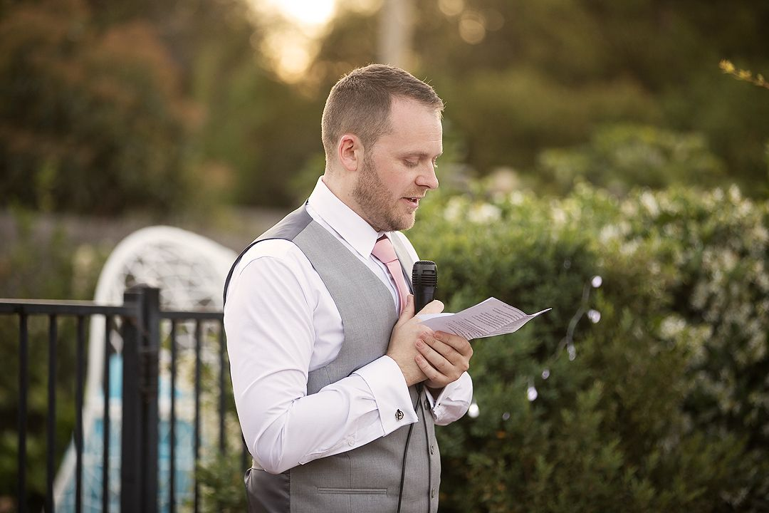 Best man giving speech at wedding reception in Canberra
