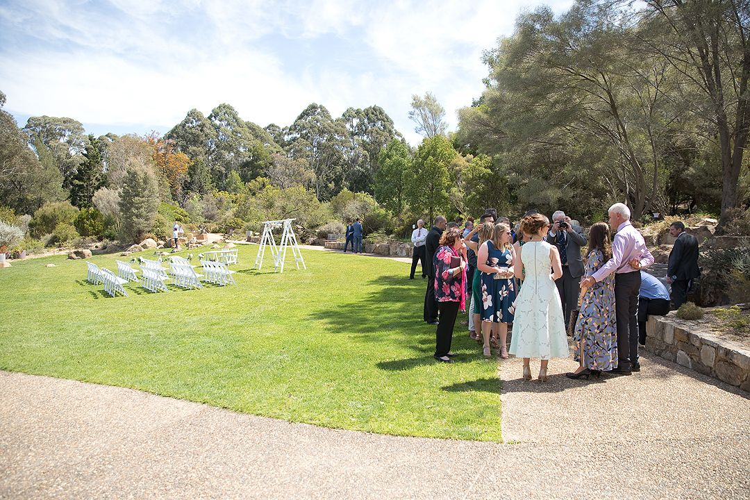 Wedding ceremony setup at the Rock Lawns of The Australian National Botanic Gardens Canberra