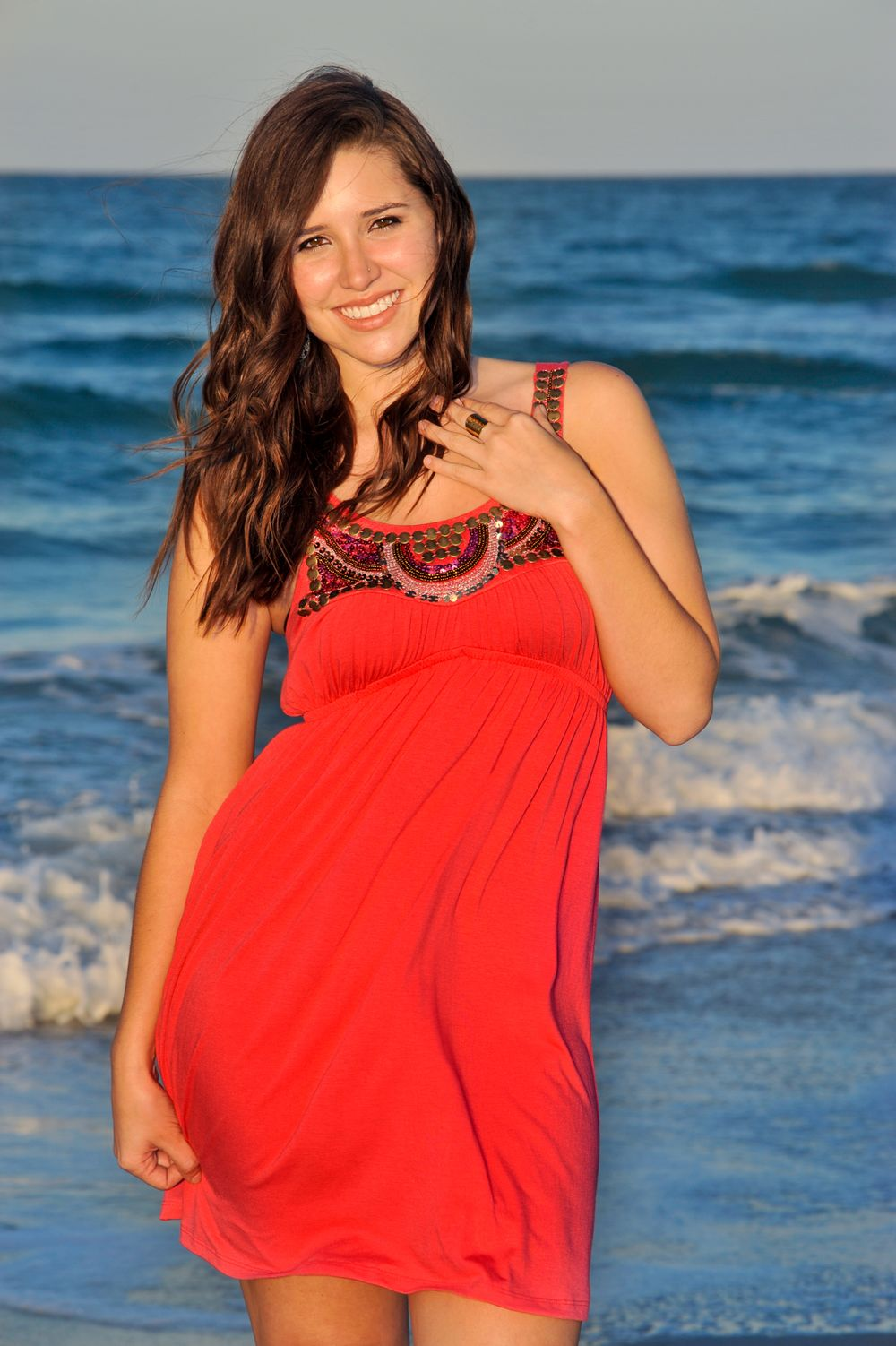 Playalinda Beach Beauty in coral dress