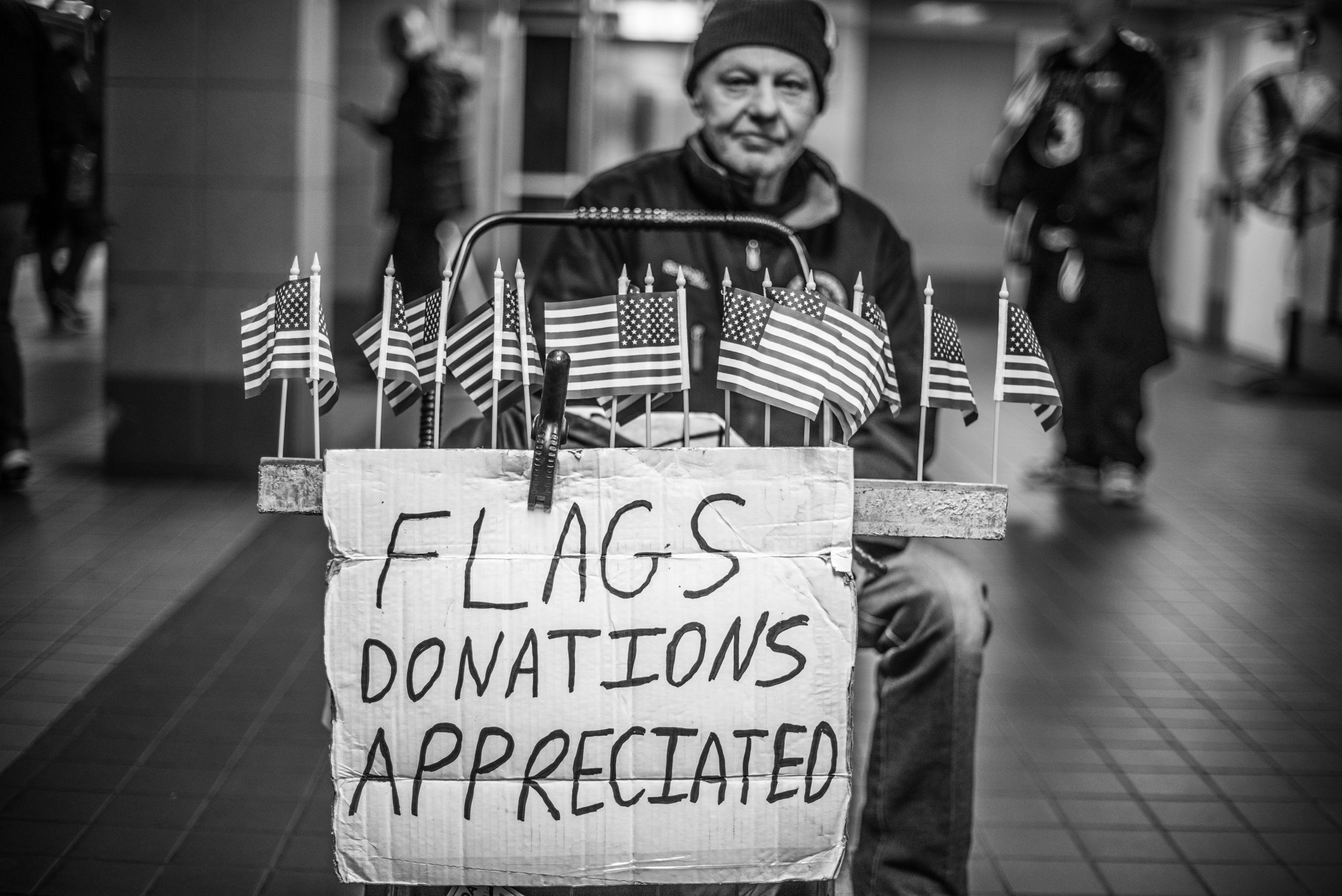 Street vendor selling USA flags