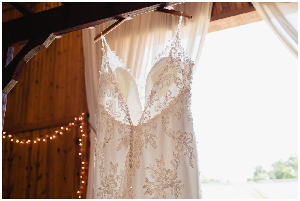 Wedding dress at barn in Enon Valley, PA