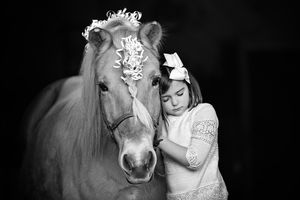 Sweet portrait of a young girl and her horse by plymouth ma child photographer Heidi Harting