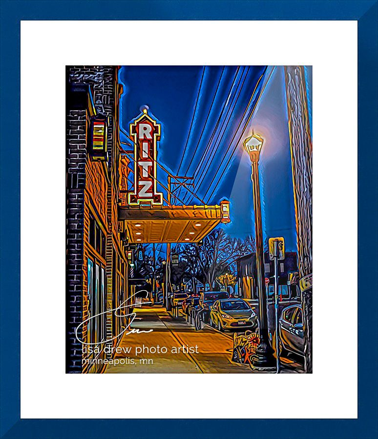 Puttin on the Ritz by Lisa Drew photo artist with dark blue contemporary frame and 2 inch mat