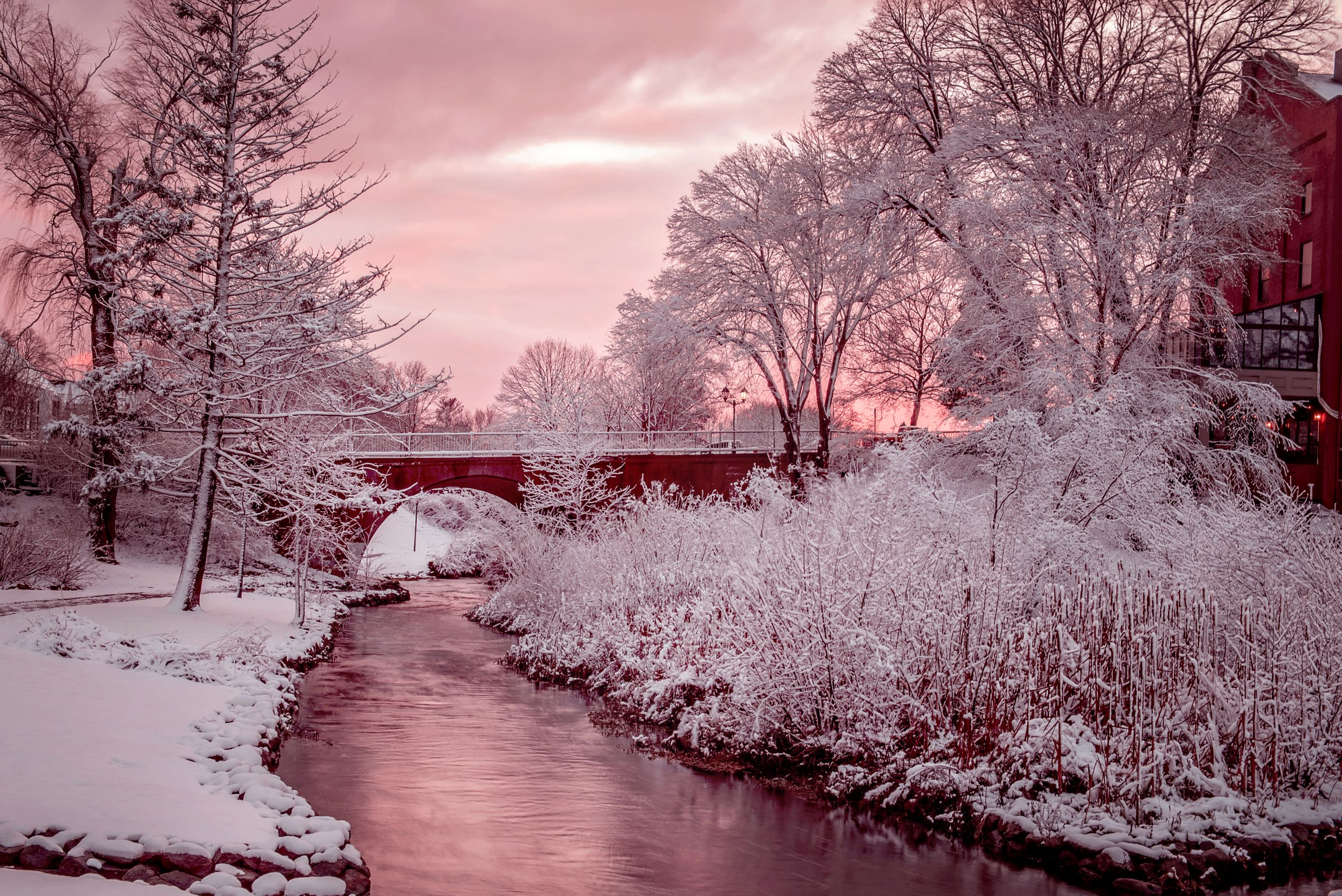 Winter scene of Brewster Gardens, Plymouth Ma with pink sunset