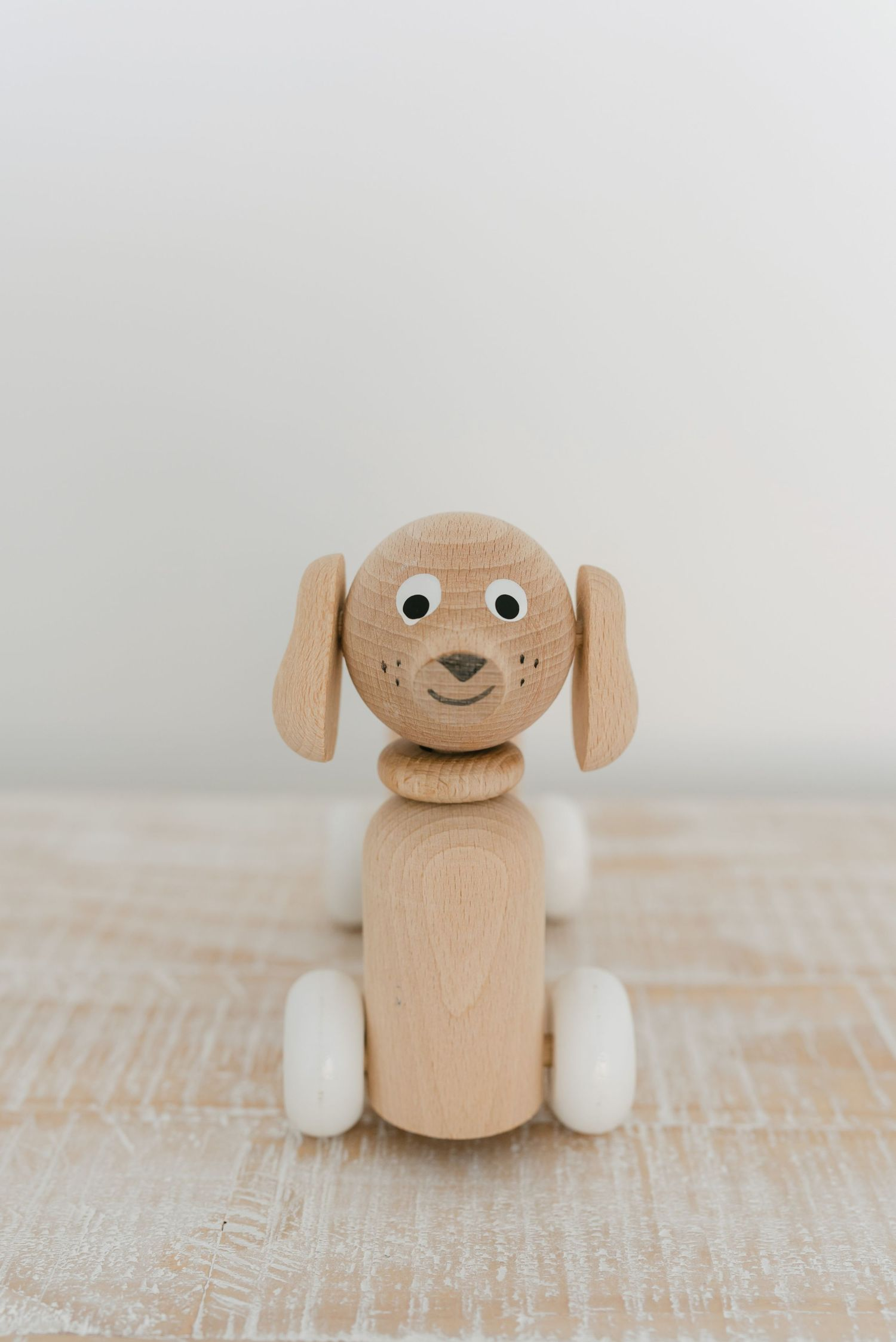 Wooden toys in baby photography studio