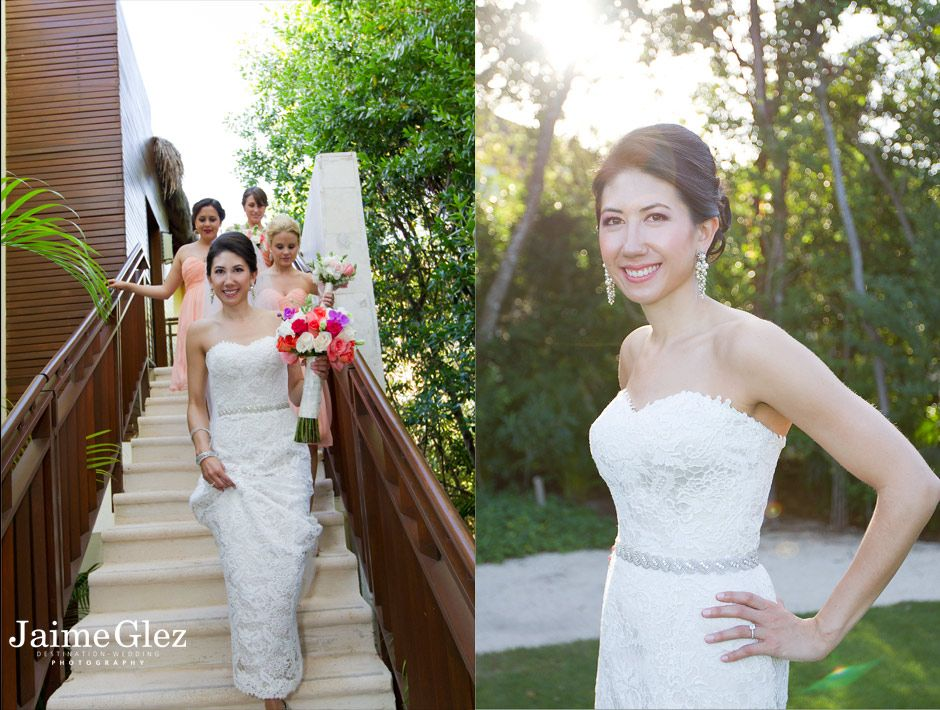 bride and bridesmaids at the Fairmont Mayakoba