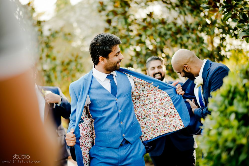 floral print in groom outfits