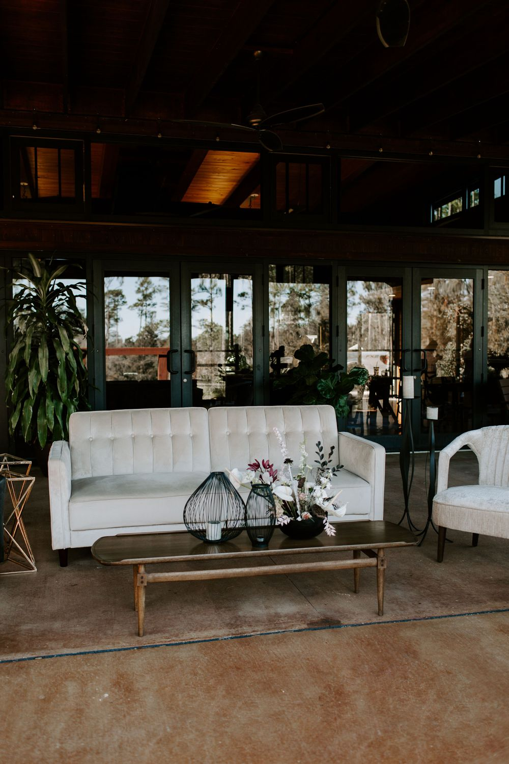 lounge area at Gatsby themed Florida elopement