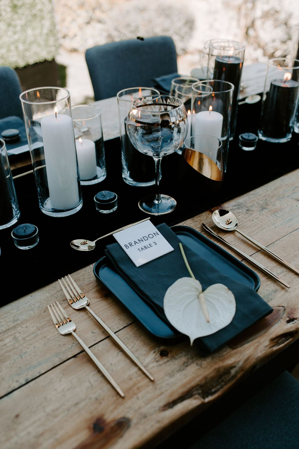 bridal table decor from a New Years eve elopement