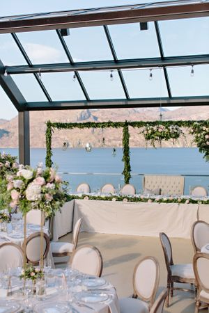 head table and hanging glass wedding decor