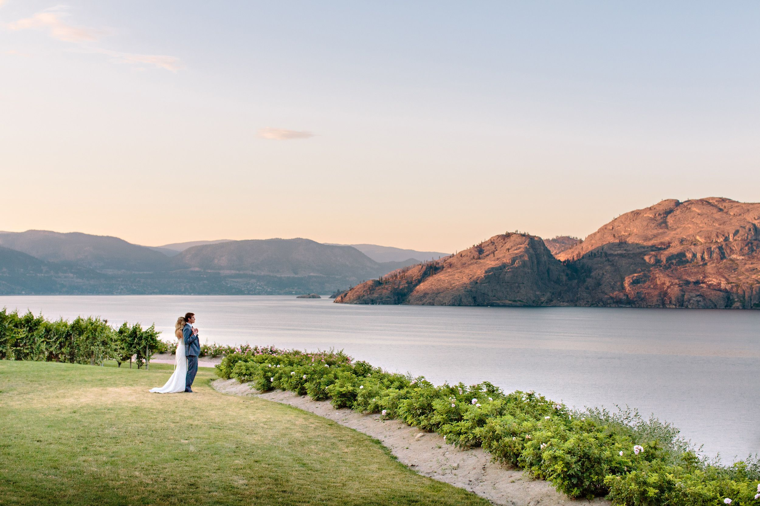 bride and groom enjoying view at fitzpatrick vineyards