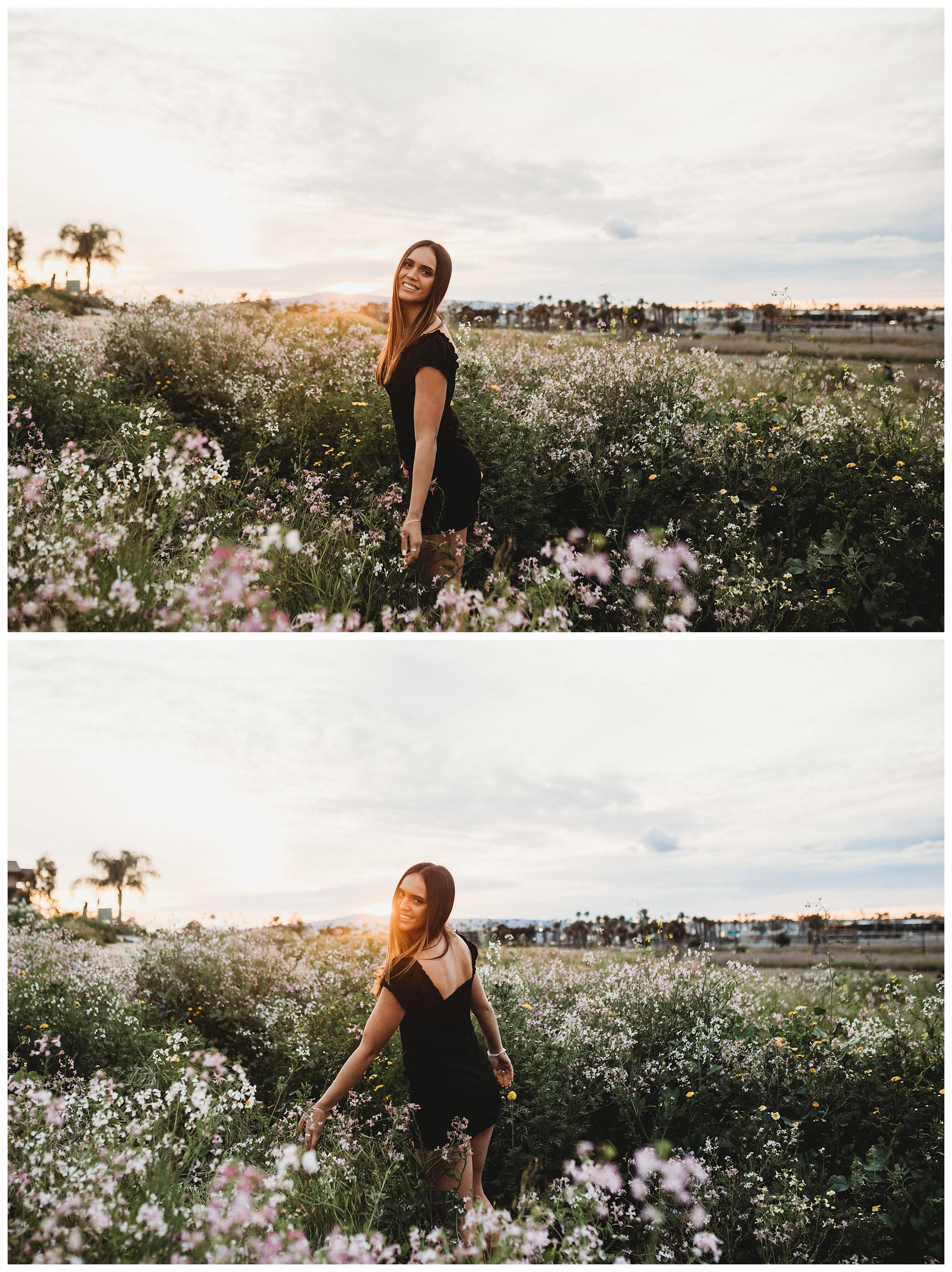 girl standing in flower field at sunset