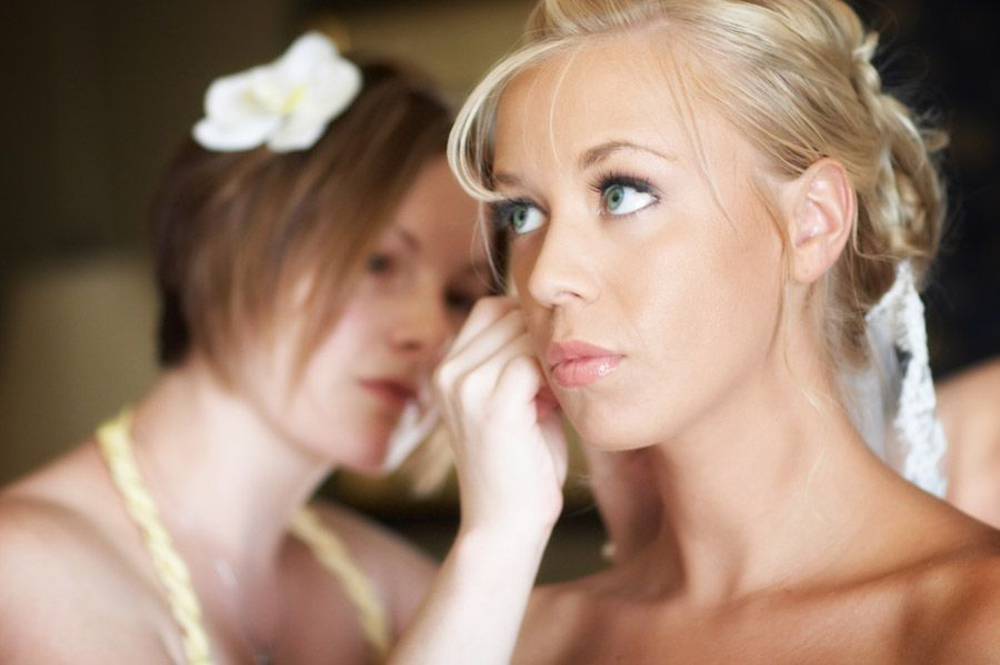 Bride getting ready for her wedding at Mount Hope Farm in Rhode Island