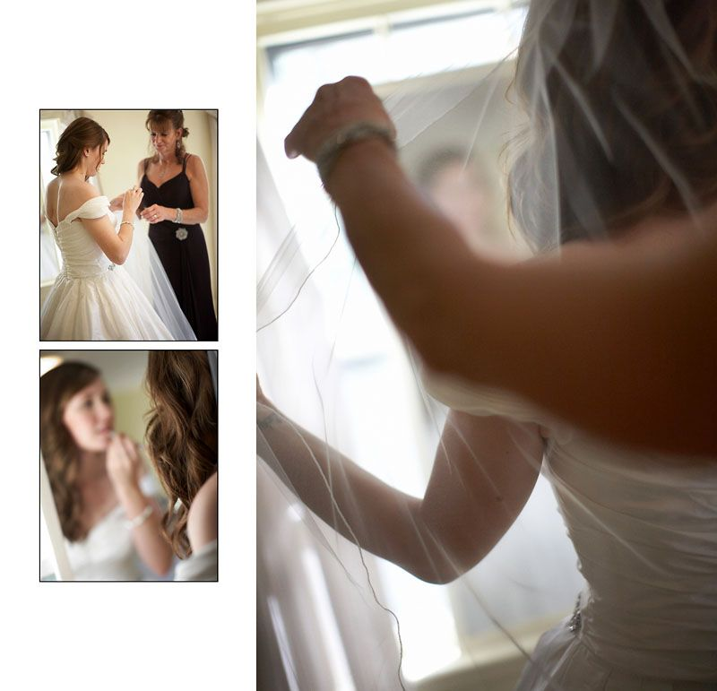 The bride getting ready for her wedding at Blithewold Mansion in Bristol Rhode Island